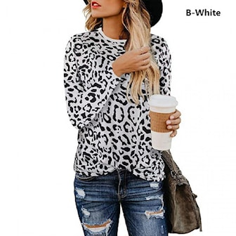 White, S, Animal Print Pullover Blouse Top, Tröja med djurtryck, ,