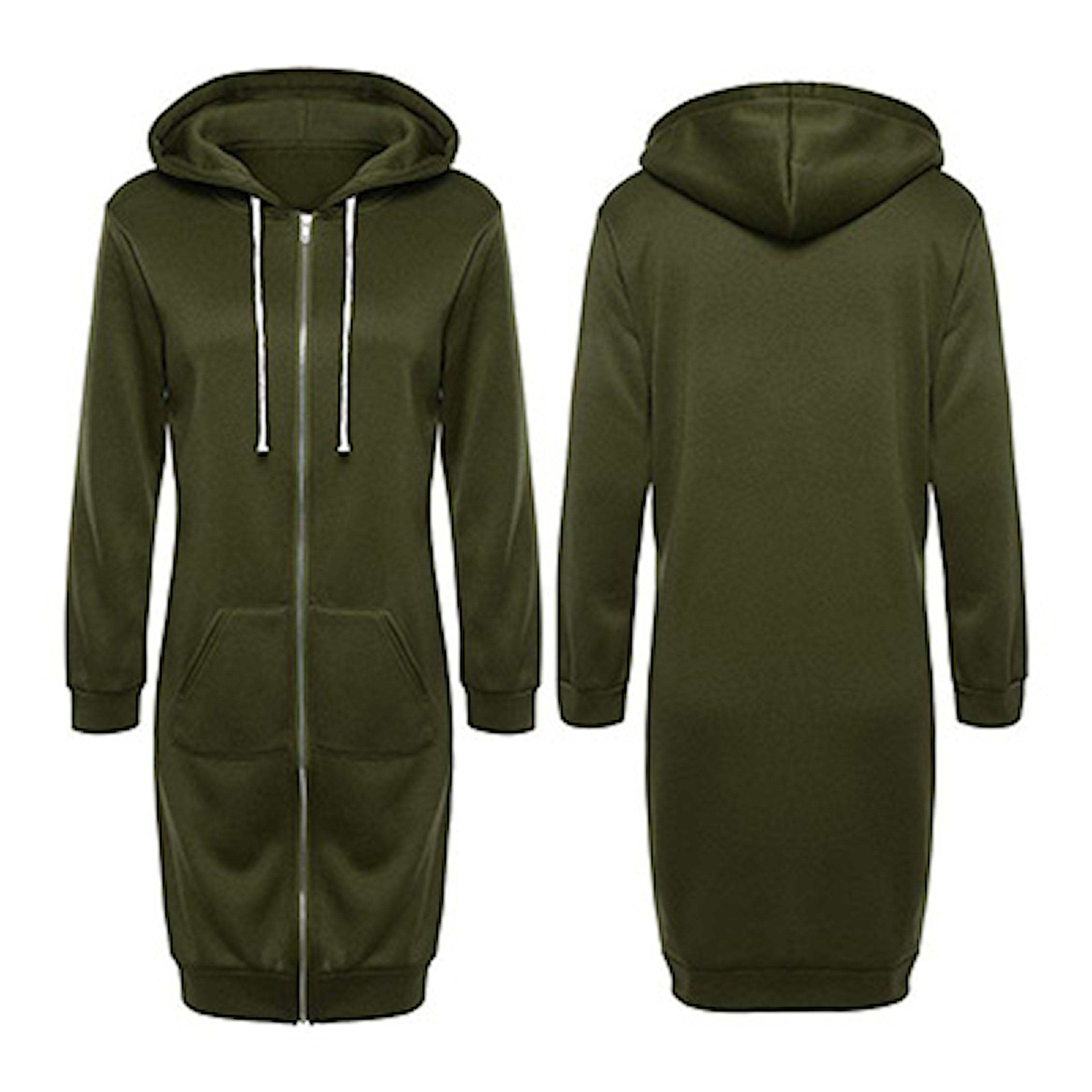 Grön, L, Long Sweatshirt Hoodie, Lång hoodie, ,