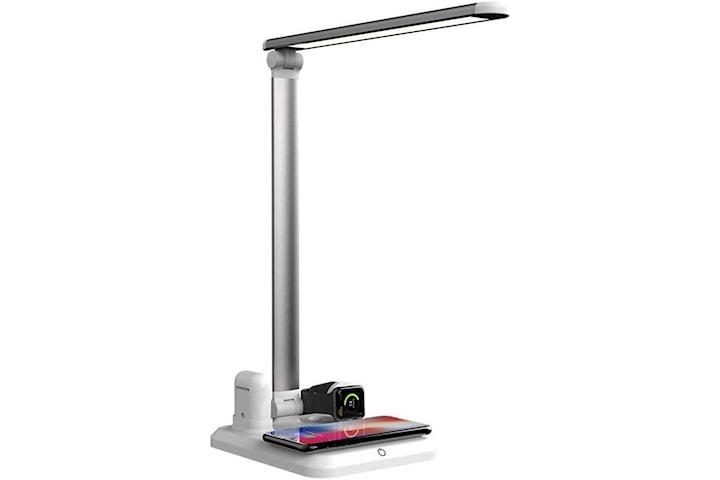 Bordlampe med Qi trådløs lading, 4-i-1, hvit