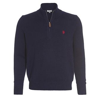 Marineblå, XL, US Polo Zip Pullover, US Polo zip genser, ,