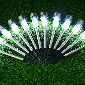 Vit, 10-Pack Stainless Steel Solar LED Garden Lights, 10-pack LED-lyktor, ,