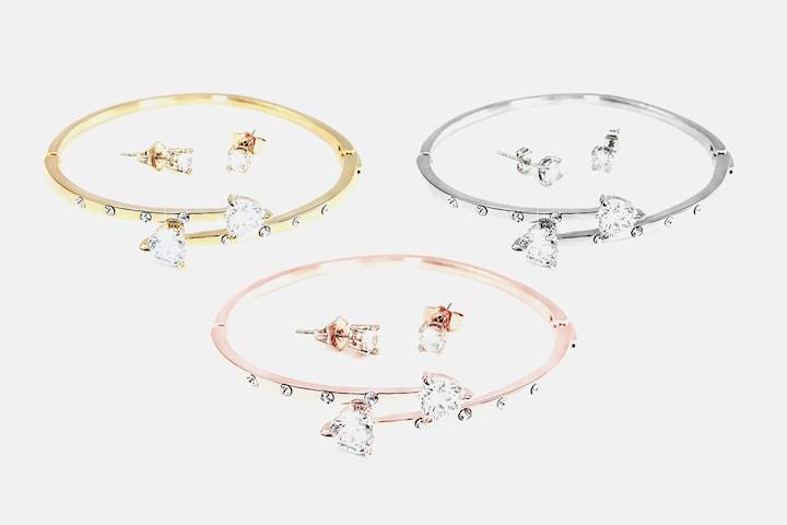 Armband och örhängen med Swarovski-kristaller