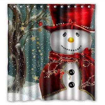 Red Snowman, Christmas Decoration Design Shower Curtain, , ,