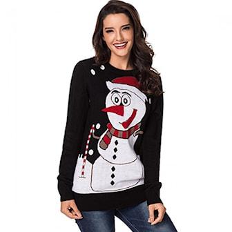 Svart/Snømann, S, Snowman Pattern Knit Casual Pullover Sweater, Julegenser med snømann/reinsdyr,