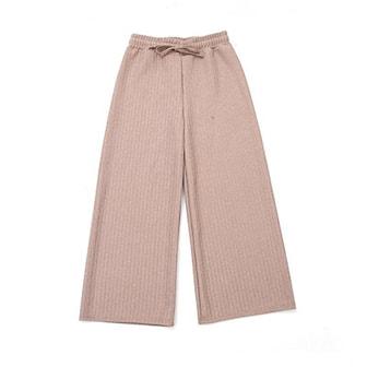 Beige, M, Pants Wide Knitted, Trendiga byxor, ,