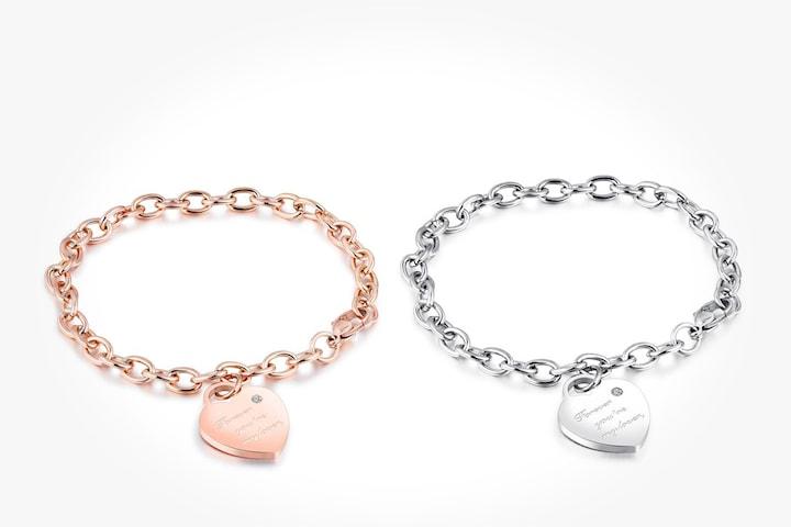 Armband med hjärtberlock och Swarovski-kristall