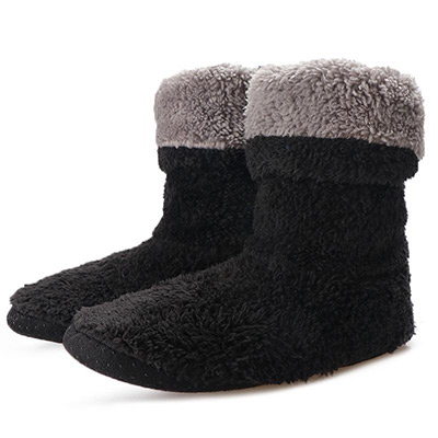 Svart, 35-38, Warm home boot sock slippers, Fluffiga innetofflor, ,  (1 av 1)