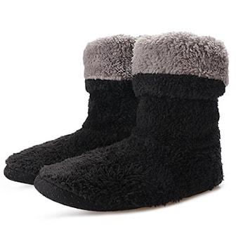 Svart, 35-38, Warm home boot sock slippers, Fluffiga innetofflor, ,