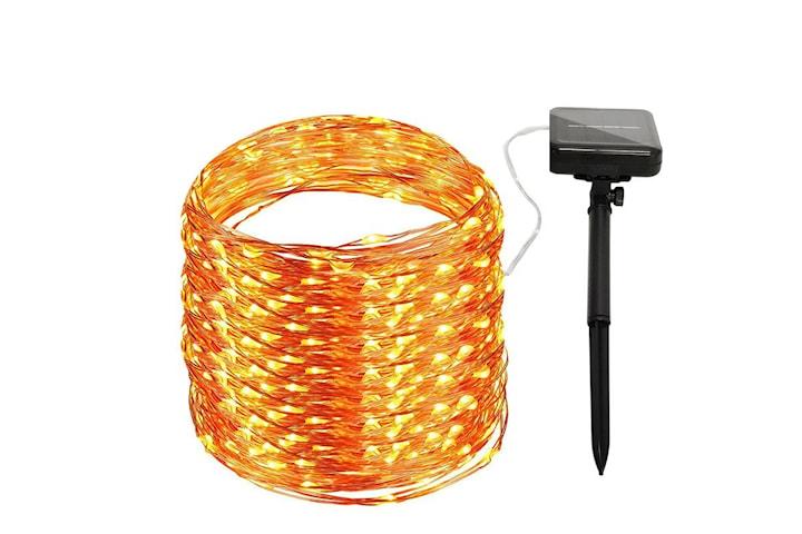 Solcelledrevet lysløkke med 100 LED-lys