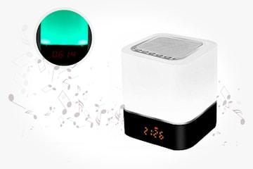Bluetooth-høyttaler med touch-lampe, alarmklokke og MP3-spiller