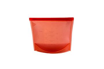 Gjenbrukbare Ziplock-pose av silikon med mål - Rød