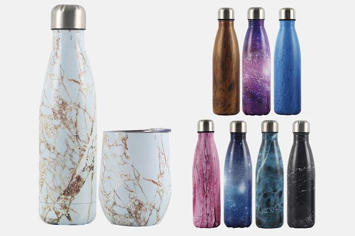 Flaske og kopp i rustfritt stål