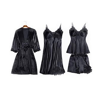 Svart, M, All 4 Parts, Alla fyra delar, Pyjamasset i lyxig design,
