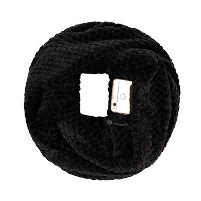 Svart, Zipper Pocket Scarf, Skjerf mer lommer,  (1 av 1)