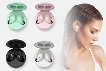 Trådlösa hörlurar med Bluetooth och Qi-laddningsetui