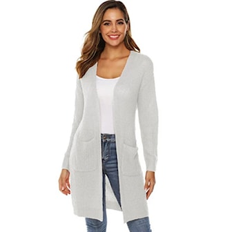 Vit, M, Casual Knitted Cardigan For Women, Stickad kofta, ,