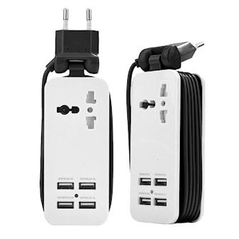 Svart, Universal 4 Port USB Hub, EU Plug, Multi-USB reiseadapter, ,