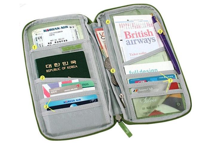 Reseplånbok för pass och resedokument, svart