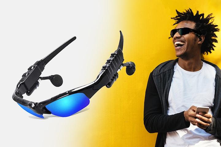 Solglasögon med inbyggda trådlösa hörlurar