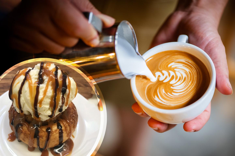 Wienersnäcka med glass eller 10-kort på kaffe latte (1 av 1)