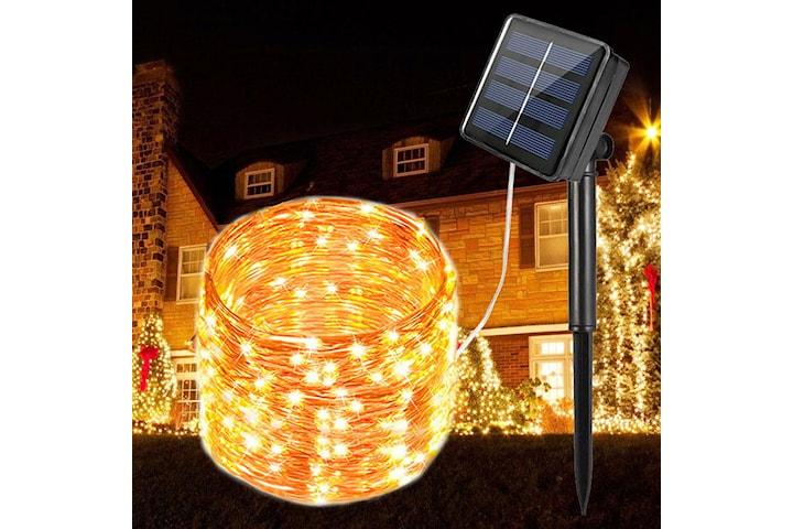 Solcellsdriven ljusslinga med 100 LED-lampor