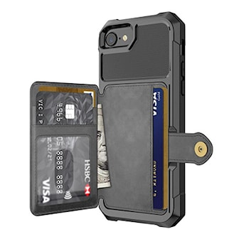 Svart, iPhone 6/7/8, PU Leather wallet case for iPhone, iPhone-fodral i PU-läder, ,