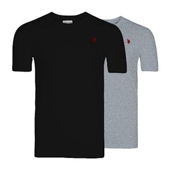Svart, Grå, 3XL, 2-pcs, 2-pack t-skjorte, ,