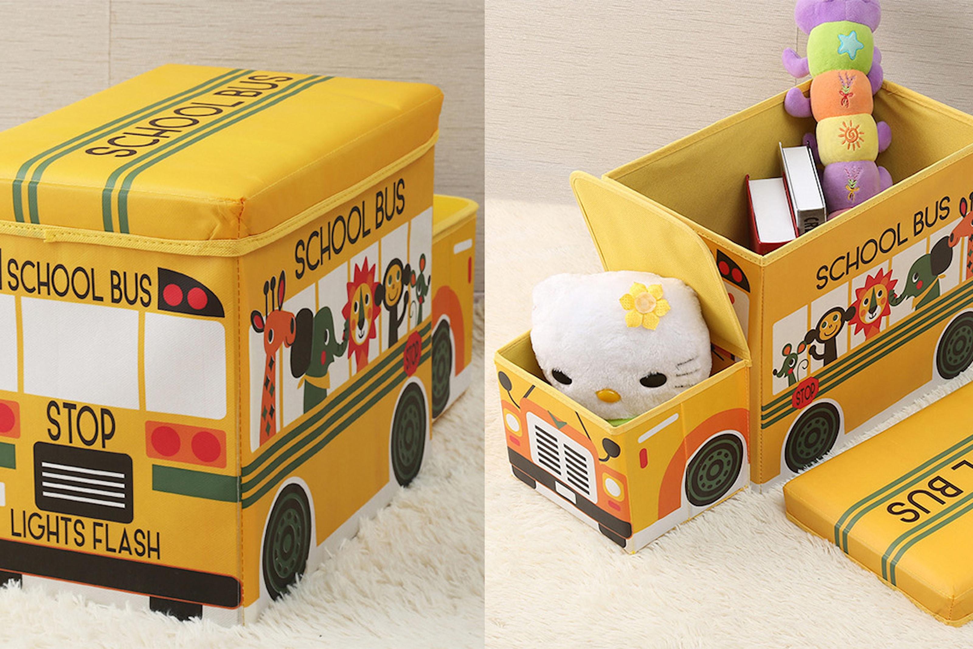 Förvaringslåda med buss- eller bilform