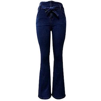 Blå, S, Vintage high waist jeans for women, , ,