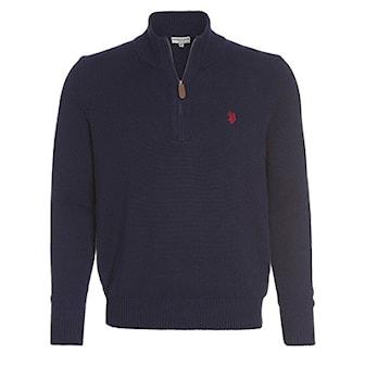 Marineblå, L, US Polo Zip Pullover, US Polo zip genser, ,