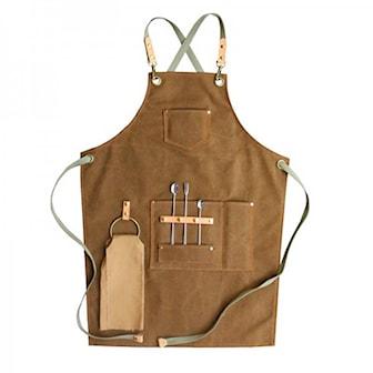 Brun, Canvas Barber Craftsman Apron, Trendigt förkläde i canvas, ,