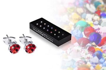 Set med 7 par örhängen med Swarovski-kristaller
