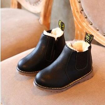 Svart, 22, Thick, Children's Non-slip warm short Boots, Chelsea boots til barn, ,