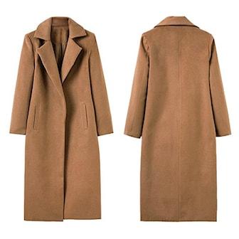 Lysebrun, M, Women Fashion Long Sleeve Straight Jacket, Lang frakk til kvinne,