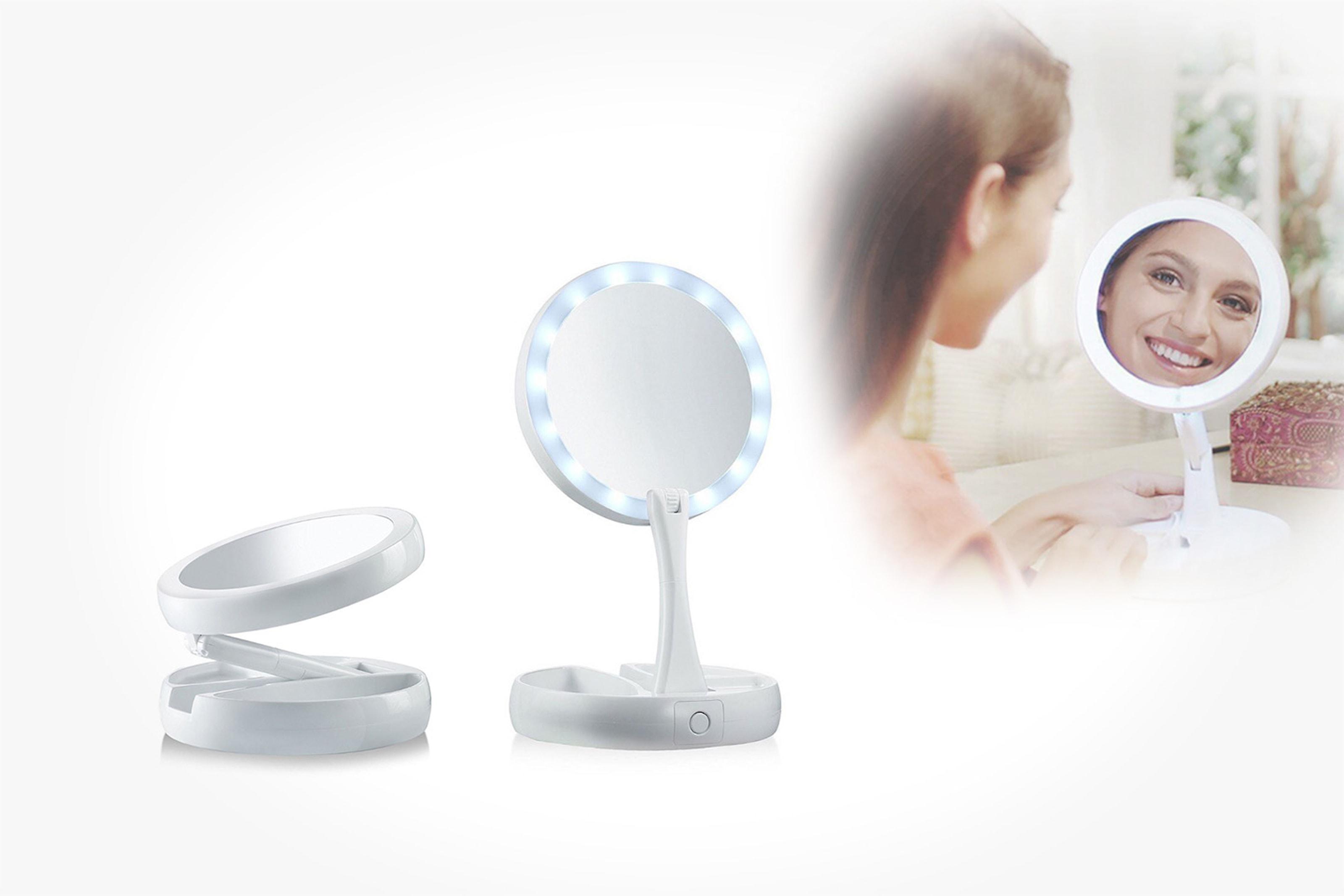 Ihopfällbar spegel med LED-ljus
