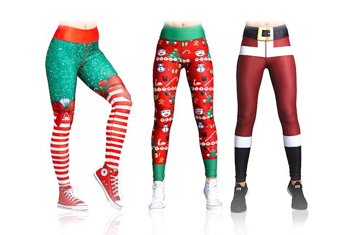 Tights med julemønster