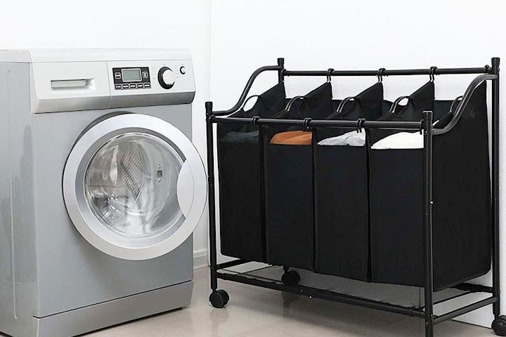 Tvättkorg i textil 3 eller 4 fack