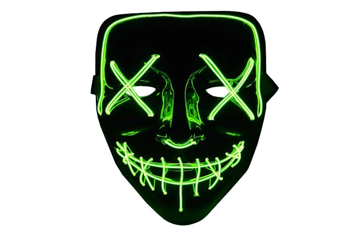 The Purge LED Neon Mask, Halloween - Grønn