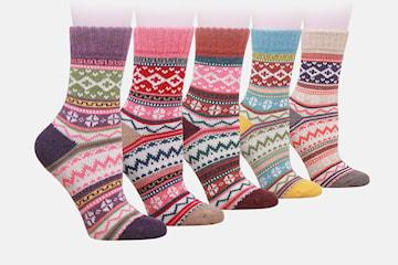 Varme sokker i ullblanding 5 par