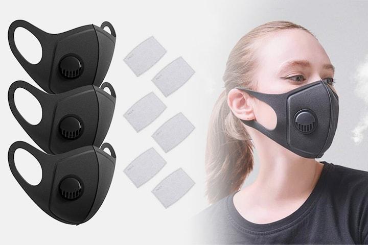 Vaskbar ansiktsmaske PM2.5 3-pack