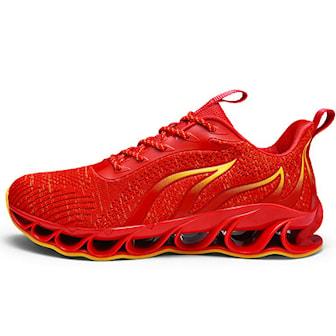 Rød, 41, Men Breathable Flying Weave Running Sport Shoes, Sneakers til herre, ,