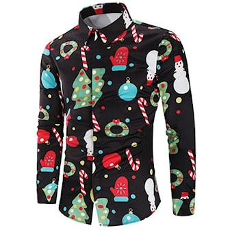 Svart, XL, Candy Cane, Christmas Men's Shirt, Juleskjorte for menn,