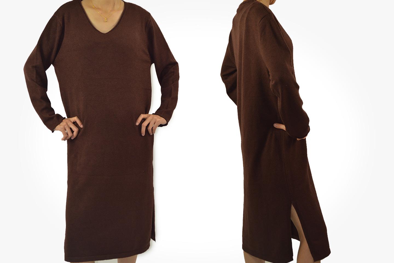 Knälång klänning med lös passform (1 av 8)
