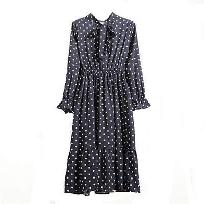 Mörkblå, M, Dress With Bow, Maxiklänning med rosettkrage,  (1 av 1)