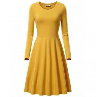 Gul, XL, Round Neck Solid Midi Dress, Söt klänning med vippig kjol, ,