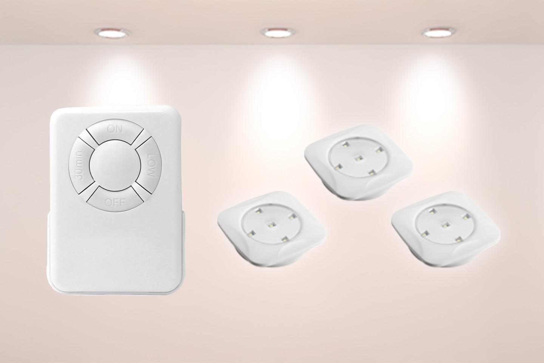 Batteridrevne LED-spotter med fjernkontroll 3- eller 6-pack (1 av 4)