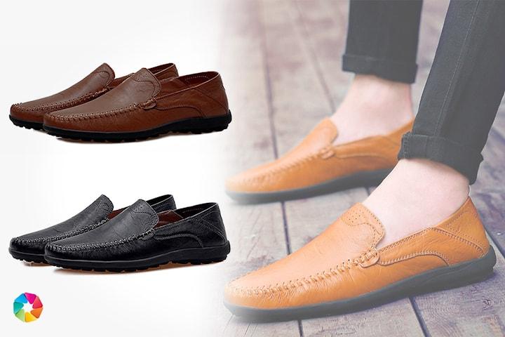 Loafers i läder herr