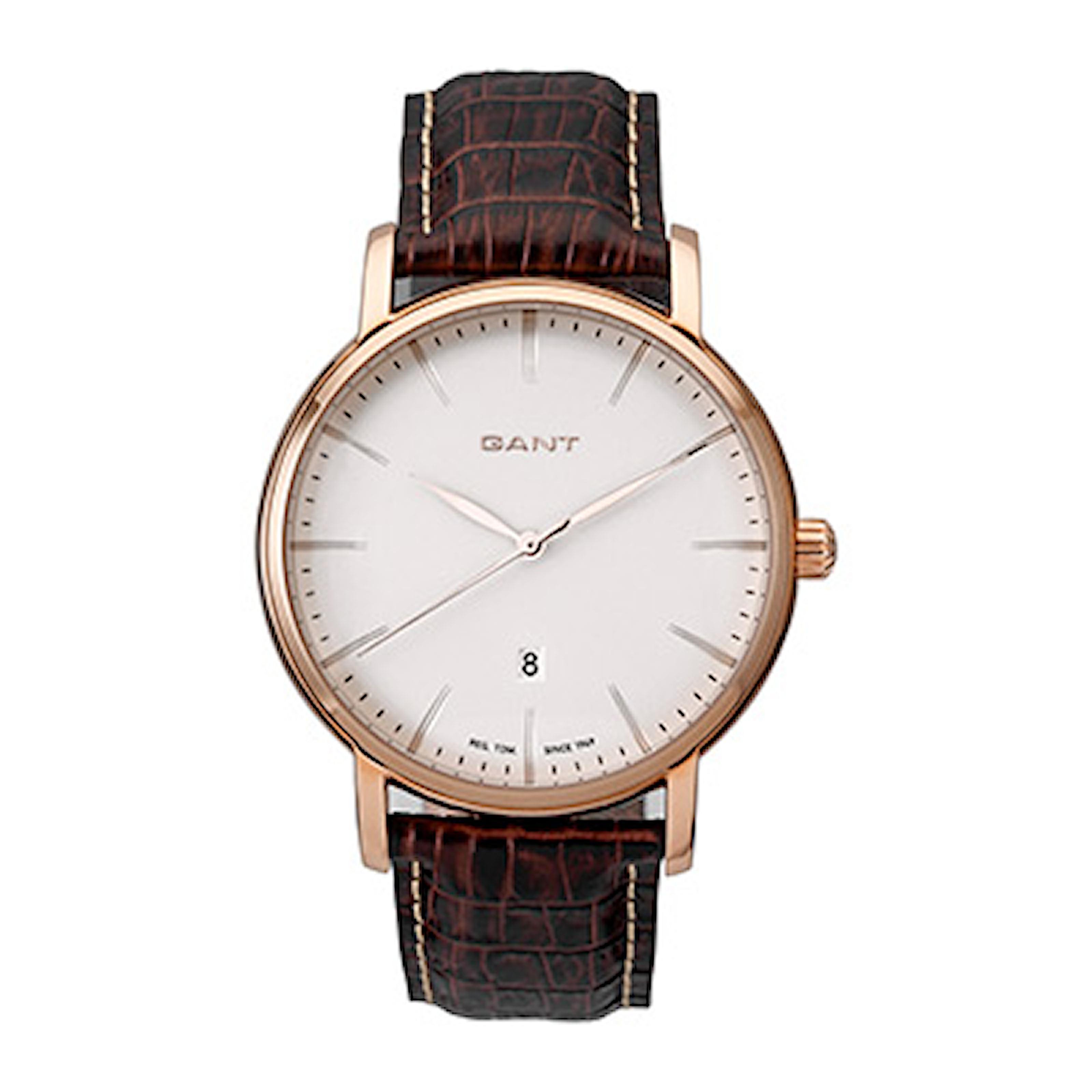 W70435, W70435, Armband: brun, läder. Urtavla: vit, rostfritt stål. Mått: 43 mm,