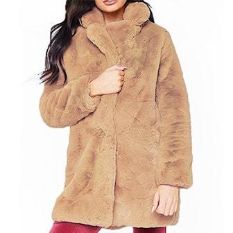 Khaki, M, Faux Fur Coat, Vinterjacka i dammodell,