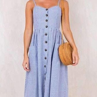 Blå, XL, Women's Summer Boho Dress, Bohemisk sommarklänning, ,
